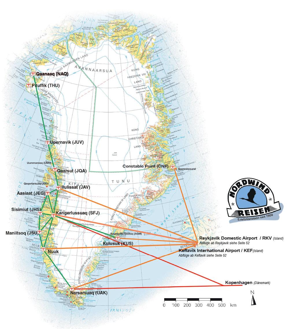Karte Gronland Nordwind Reisen