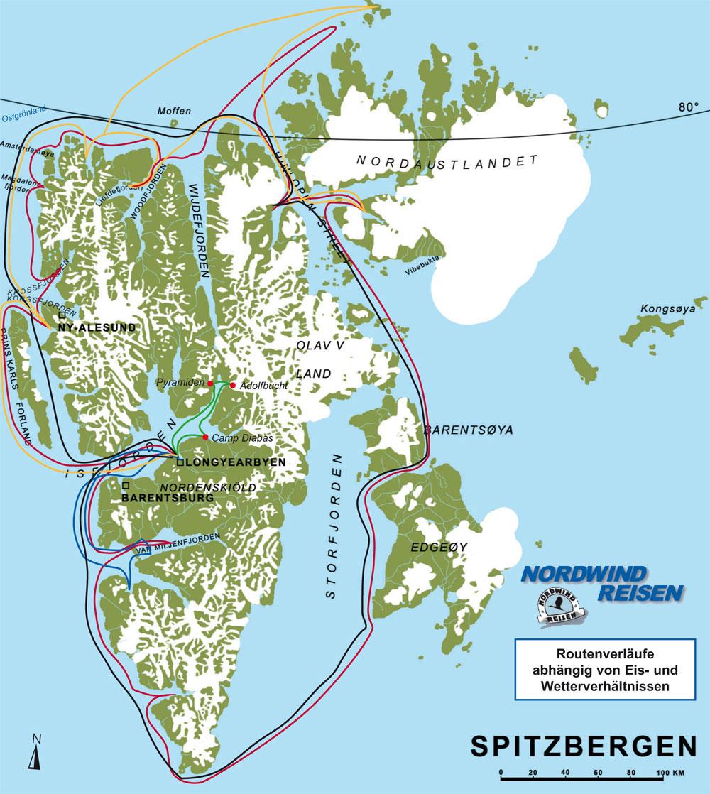 spitzbergen karte NORDWIND REISEN   Karte Spitzbergen