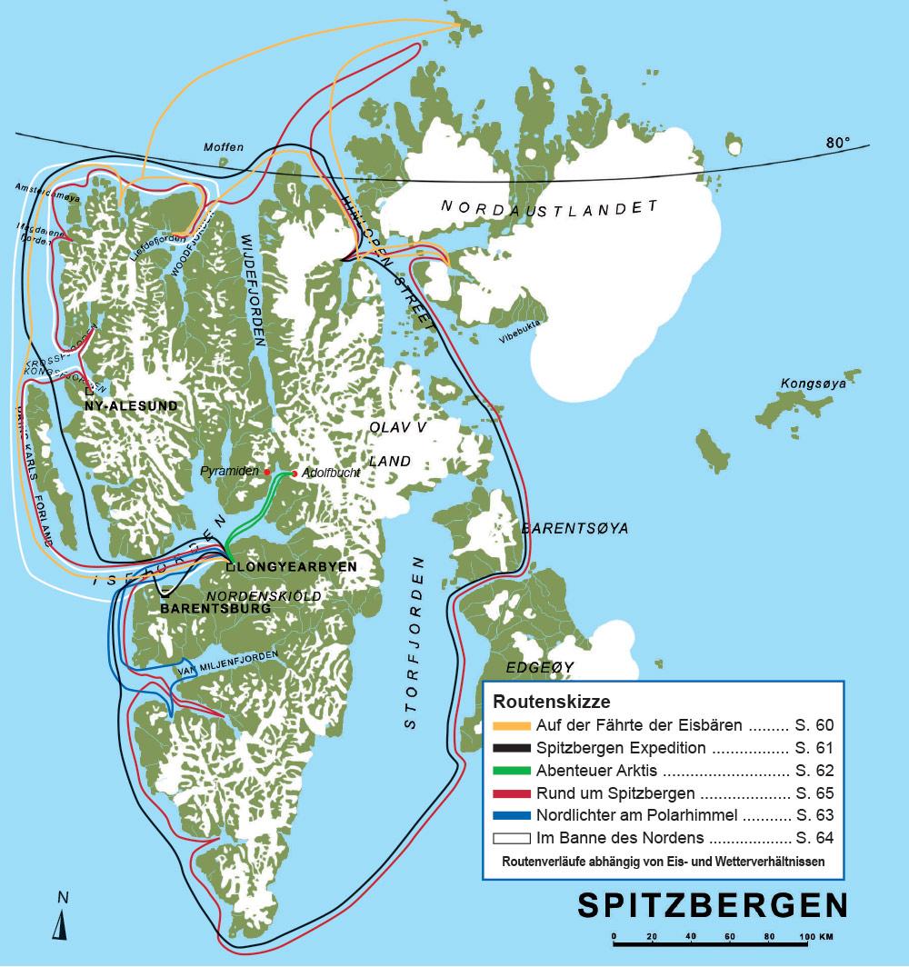 spitzbergen karte Karte Spitzbergen | NORDWIND REISEN